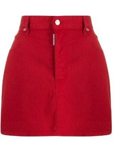 Shop online red Icon logo mini denim skirt as well as new season, new arrivals daily. Red Skirt Outfits, Red Denim Skirt, Red Pants, Red Skirts, Maxi Skirts, Summer Outfits, Women's Pants, Denim Skirts, Long Skirts
