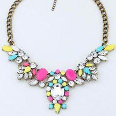 URORU collier femme maxi necklace 2017 Colorful collares statement Boho choker Crystal statement jewelry women Rhinestone free  #Affiliate