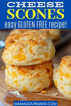 Gluten Free Cheese Scones are a savory fluffy scone recipe flavored with cheddar and garlic. This biscuit recipe is adaptable for US or UK measurements and tastes so good you won't believe it's gluten free! Gluten Free Recipes, Baking Recipes, Bread Recipes, Dishes Recipes, Recipes Dinner, Brunch Recipes, Yummy Recipes, Vegetarian Recipes, Yummy Food