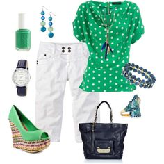 Navy & Green, created by traci-oleary-reuer...probably wouldn't wear most of the jewelry but cute outfit!