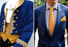 If a couple wants a Beauty and the Beast-themed wedding, they could do a LOT worse than these ensembles for the men! #WeddingIdeasForMen