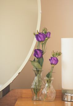 Old Antique Mirror and Vases with beautiful fresh flowers