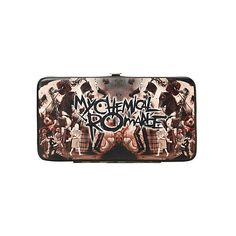 My Chemical Romance Black Parade Hinge Wallet | Hot Topic ($12) ❤ liked on Polyvore featuring bags, wallets, my chemical romance, clear bags, pocket wallet, credit card holder wallet, clear wallet and black bag