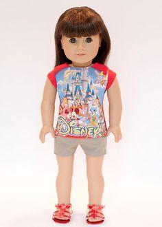 American Girl doll upcycled Disney World t by EverydayDollwear, $10.50