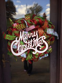 HOLIDAY Merry Christmas deco mesh Christmas by ShelbyColemanCrafts, $65.00