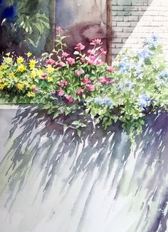 Abe Toshiyuki watercolor painting of a colorful flower garden. Watercolor Images, Watercolor Artwork, Watercolor Landscape, Abstract Landscape, Watercolor Flowers, Landscape Paintings, Watercolor Painting Techniques, Watercolour Tutorials, Flower Art