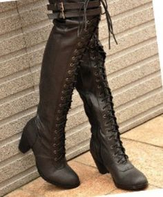 Ladies Black Sexy Buckle Strap Lace Up Mide Heel Knee High Riding Boots Shoes | eBay