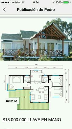 Casa madera Small House Floor Plans, Dream House Plans, Modern House Plans, Village House Design, Bungalow House Design, D House, Tiny House Cabin, House Layout Plans, House Layouts