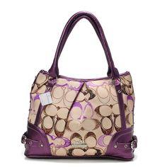 Coach Poppy In Signature Medium Purple Totes AEG #ShopDesigner