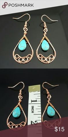 TURQUOISE relieves stress, dispels negativity TURQUOISE is a strengthening stone(good for exhaustion, depression, panis attacks), relieves stress, dispels negativity.  • Handmade Turquoise earrings with copper wire wrapping by us, DGwiring. • We can make more upon request and also with silver or gold wire.  • Stone 0.5 inch • Pendant 1.5 inch • Comes in a jewlery gift box. Perfect for gifts!  ❤ FREE SHIPPING at www.DGwiring.com Thank you for supporting our handmade small business! DGwiring…