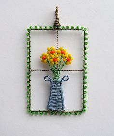 Flowers In The Window wire wrapped pendant