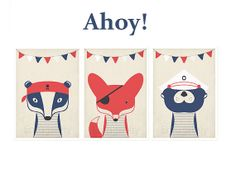 Retro pirate posters, A3 set, nautical animals, vintage art print, wall decor, nursery wall decor, picture, sailor, sea, fox, badger, otter on Etsy, $49.00