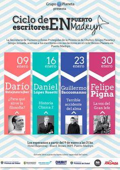 Madryn: Se conoció la grilla del V Ciclo de Encuentro de Escritores de Editorial Planeta http://www.ambitosur.com.ar/madryn-se-conocio-la-grilla-del-v-ciclo-de-encuentro-de-escritores-de-editorial-planeta/ Darío Sztajnszrajber, Daniel López Rosetti, Guillermo Saccomanno y Felipe Pigna son los escritores que visitan la ciudad este verano     Puerto Madryn será, por quinto año consecutivo, sede del Ciclo de Encuentro con Escritores de Editorial Planeta, el cual tiene como