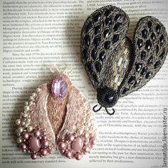 """Купить Брошь """"PINK"""" - бледно-розовый, бабочка, мотылек, брошь, вышитая брошь"""