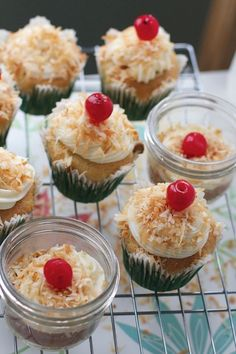 Pineapple Cupcakes with Toasted Coconut in a Jar or No Jar by Angela Roberts