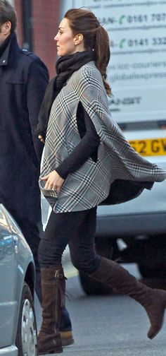Duchess of Cambridge.. tartan print poncho + Really Wild Clothing Chocolate Suede Spanish Boots..