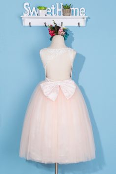 White lace and blush tulle flower girl dress, backless flower girl dress, baby girl dress, toddler girl , pink dress for wedding, bow dress by FleuristeDress on Etsy