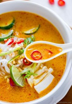 Comforting Malaysian Red Curry Laksa Soup with Rice Noodles and Tofu