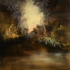 In The Antique Style (Print - 12x12 in.). In The Antique Style by Maurice Sapiro is a landscape of a dark pond in a hollow, with a glimpse of the open landscape nearby through a ravine. This piece captures the smooth water, the jagged foilage and the soft sky in various neutral tones with deep brown shadows and a blush of pink.