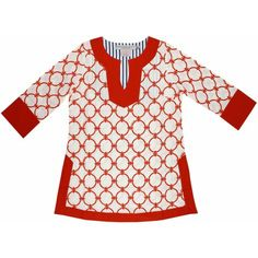 Classic V-Neck Hand Printed Tunic in Coral Chains by Gretchen Scott Designs