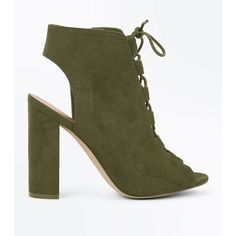 Khaki Suedette Lace Up Peep Toe Heels ($40) ❤ liked on Polyvore featuring shoes, khaki, peep-toe shoes, new look shoes, zipper shoes, laced up shoes and high heel peep toe shoes