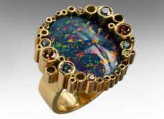 Cartier Black Opal Gold & Coloured Diamond Ring