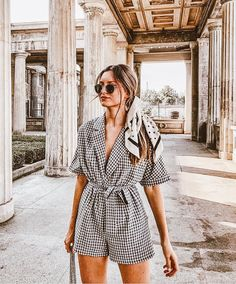 #goodnightmacaroon #summeroutfits #romper #gingham #headscarf #traveloutfits #summer #outfitideas