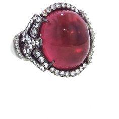 Arunashi Rubellite Tourmaline Ring With Diamonds - Blackened Gold ($18,600) ❤ liked on Polyvore