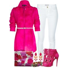 A fashion look from January 2013 featuring skinny leg jeans, floral clutches and woven bracelet. Browse and shop related looks. Fuchsia Outfit, Diva Fashion, Look Fashion, Fashion Outfits, Womens Fashion, Polyvore Outfits, Polyvore Fashion, Casual Chic, Rosa Style