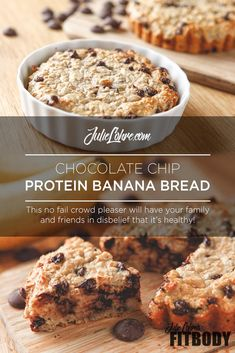 Make This - Moist, Gooey & Healthy Chocolate Chip Protein Banana Bread Chocolate Chip Protein Balls Recipe High Protein Desserts, Healthy Protein Bars, Protein Bar Recipes, Protein Powder Recipes, Protein Snacks, Healthy Recipes, Vegan Protein, Healthy Desserts, Healthy Meals