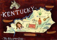 Kentucky Art Print by Christiane Engel My Old Kentucky Home, Kentucky Derby, Mammoth Cave, Ohio River, Illustrations, Cartography, Artsy, Scrapbook, Art Prints