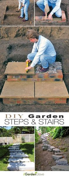 DIY Garden Steps Stairs Lots of ideas tips tutorials Including from diy network this great tutorial on how to build brick and paver stairs