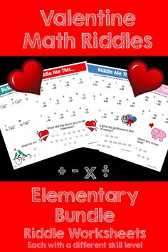 Make math FUN this Valentine's Day! This activity is full of computation practice. The students also have a goal of solving a riddle at the end. It is a great way to combine fun and learning! This Bundle includes all of my Valentine themed riddles for addition, subtraction, multiplication and division. Save 33% when you buy this Bundle!!