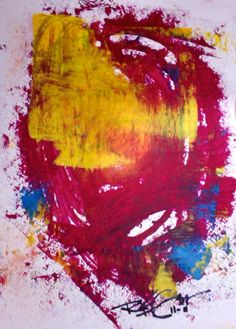Red Yellow Abstract Art Original Bold Painting by RegiaArt , $82