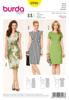 Burda Ladies Sewing Pattern 6916 Geometric Shape Dresses | Sewing | Patterns | Minerva Crafts
