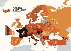 Europe according to penis size (Atlas of Prejudice by Yanko Tsvetkov) European Map, Illustrator, Map Design, Graphic Design, Just In Case, Decir No, Photo Galleries, Lol, Funny Stuff