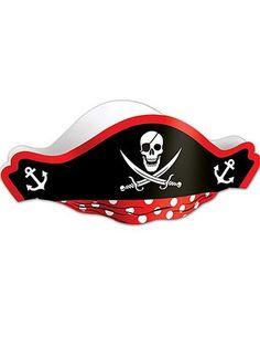 Pirate Party Hat Paper. See more pirate costume accessories at CostumeSuperCenter.com!