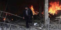 Al menos 35 muertos por bombardeos en las afueras de Damasco, Siria.