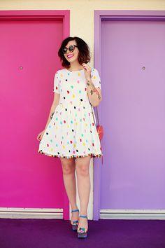 Keiko of Keiko Lynn, rainbow polka dot dress and shoes