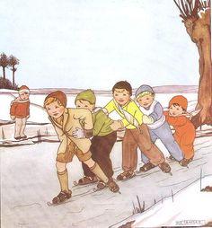 Boys' skate train - by Rie Cramer (illustrations, of children)