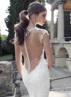 Brautkleider - $224.50 - Trompete/Meerjungfrau-Linie V-Ausschnitt Hof-schleppe Tüll Spitze Brautkleid mit Perlenstickerei (0025091382)