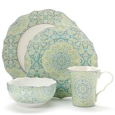 222 Fifth Lyria Seafoam Green 16 Pc Dinnerware Set | Home
