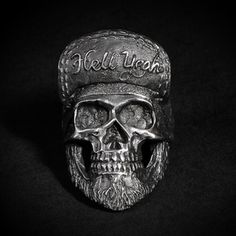 "#skull # ring #skullring #fourspeed #fourspeedmetalwerks #pewter #handmade ""Hell Yeah"""