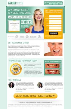 teeth whitening clean and user friendly long lead capture landing page