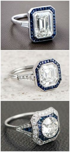 Antique sapphire and diamond engagement rings from Estate Diamond Jewelry. Which design would you want on your finger?