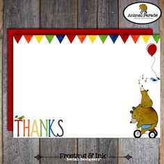 Animal Parade Party  Thank You Note Card & Wrap by frostingandink, $13.00