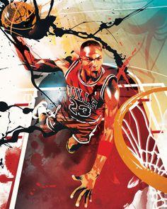 RareInk - NBA | Bulls | Michael Jordan | Original Art Print & Canvas