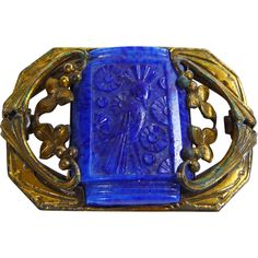 Deco Carved Lapis Lazuli Brooch with Bird Motif  offered by Noble Savage Vintage at Ruby Lane