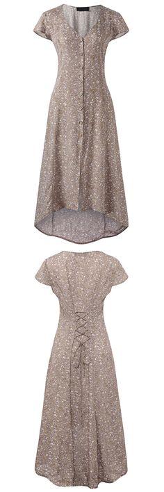 US$23.48  Gracila Floral Print Irregular Back Tie V-neck Short Sleeve Women Dress