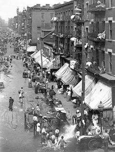 "Picture of Hester Street in the Lower East Side in 1901. The lack of cleanliness on this street is evident and is a clear indicator of the need of ""civic cleanliness"". Women reformers railed against the ""slovenly manner in which the street cleaning was done"" and firmly held that ""the secret of success is constancy of purpose"" (Wagner 405).   Merchant, Carolyn, ed. Major Problems in American Environmental History. 3rd Ed.  Boston: Wadsworth, 2012. Print."